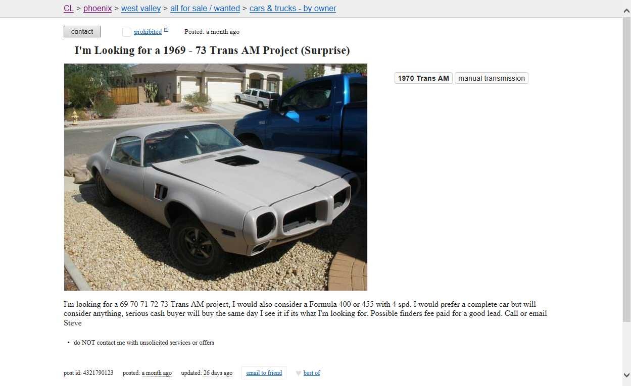1973 trans am craigslist pictures to pin on pinterest for What s similar to craigslist