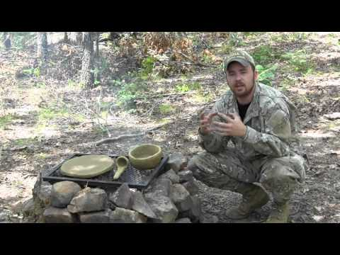 Primitive Survival Tools Clay Skillet, Bowl, Ladle